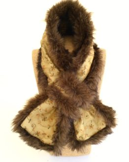 Antique gold voile silk and dark brown faux fur stole