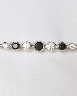 Black and White Graduated Stones Silver Stock Pin