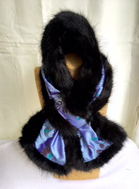 Blue Silk and Black Mink Faux Fur Stole
