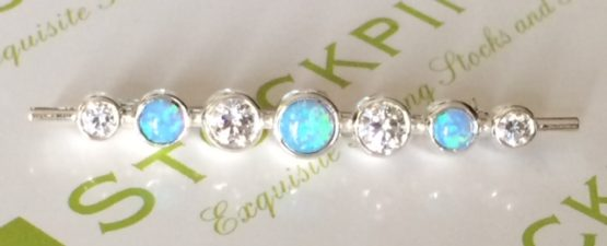 Blue Opal Graduated Stones Stock Pin in Silver