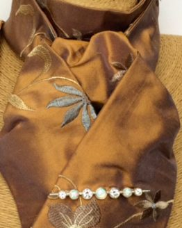 Bronze embroidered blue grey flowers shot silk stock self tie