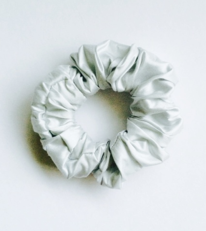 Light Silvery Grey Blue Pure Silk Scrunchie