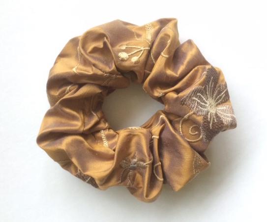 Bronze blue grey flowers silk scrunchie