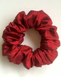 Claret Pleated Silk Scrunchie