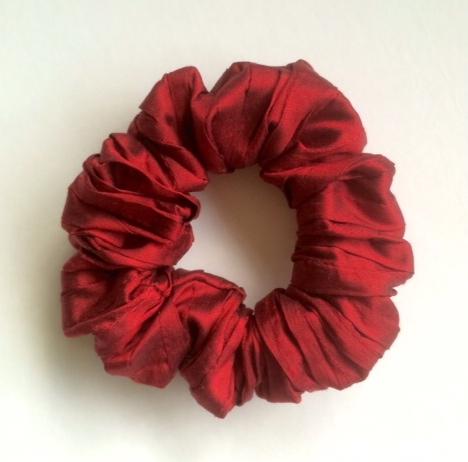 Claret Pleated Silk Scrunchie