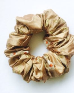 Cocoa Rust Linen Flower Embroidered Silk Scrunchie