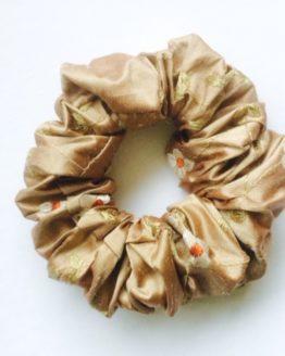 Cocoa Rust Linen Flower Embroidered Silk Scrunchie