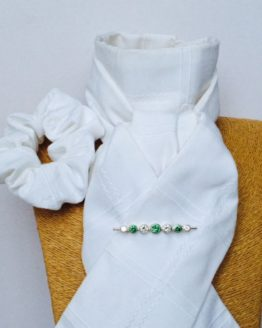 White Large Square Stock Self Tie with matching scrunchie and graduated stones emerald silver stock pin