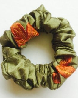 Forest Green with orange lilies scrunchie