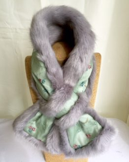 Green Silk and Grey Mink Faux Fur Stole