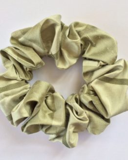 Green Stripe Silk Scrunchie