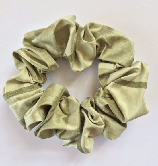 Green Stripe Silk Scrunchie