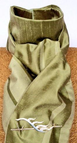 Green stripe pure silk stock self tie