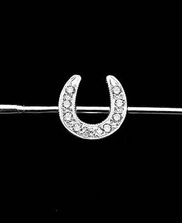 The classic lucky horse shoe, fully and elegantly set with quality stones on a riding whip in solid silver.