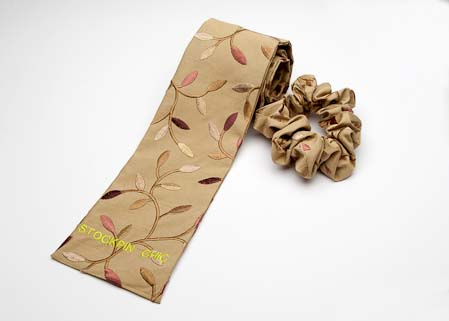 Autumn Leaf Embroidered Scrunche and Self Tie Stock