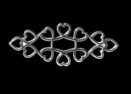 Adjoining Hearts Silver Stock Pin