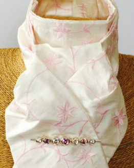 Ivory Embroidered Pink Flower Pure Silk Stock Self Tie