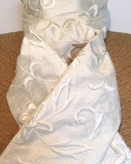 Ivory Embroidered Flower Dupion Silk Stock pre tied