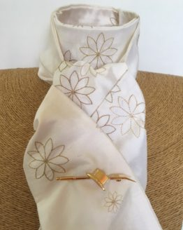 White embroidered honey toned flower pure silk stock self tie