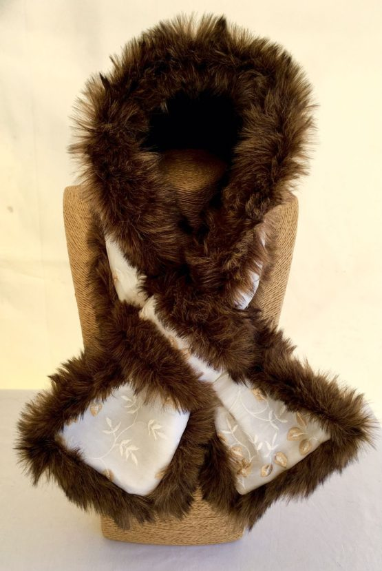 Ivory White and Dark Brown Faux Fur Stole