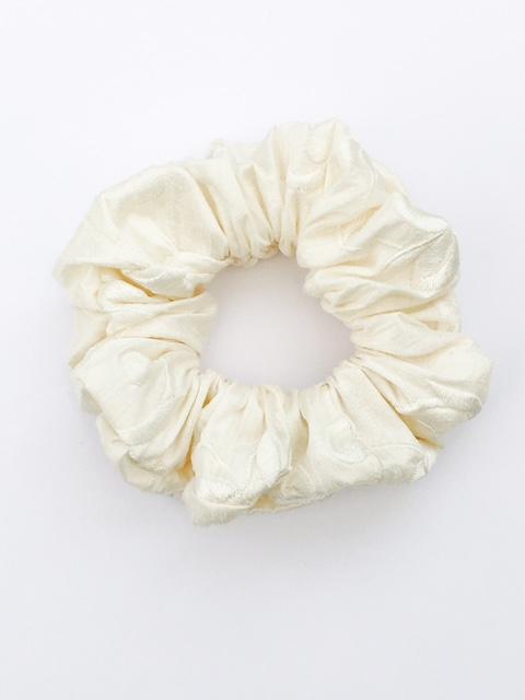Ivory embroidered Flower Dupion Silk Scrunchie