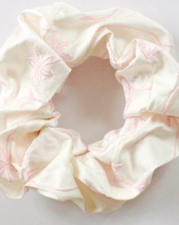 Ivory Embroidered Pink Flower Pure Silk Scrunchie