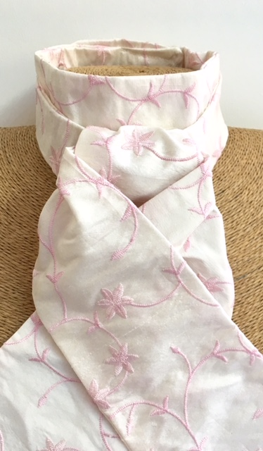 Ivory pink flower embroidered pure silk stock pre tied