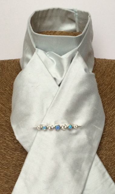 Light Silvery Grey Blue Pure Silk Stock Self Tie