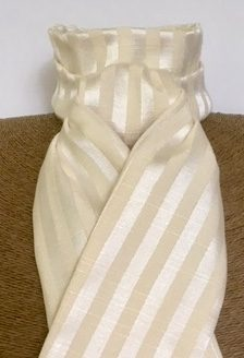 Pale Cream Satin Stripe Pre Tied