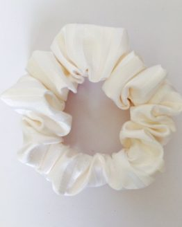 Pale cream statin stripe scrunchie