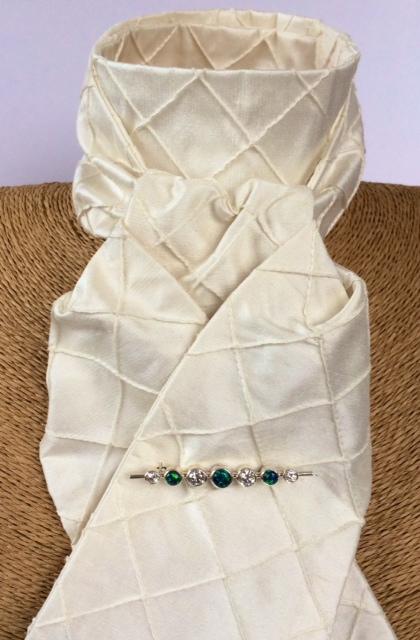Panama diamond pin tuck silk stock self tie