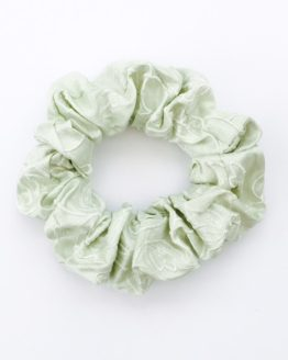 Peppermint embroidered pure silk Scrunchie