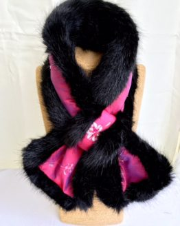 Pink Silk and Black Mink Faux Fur Stole