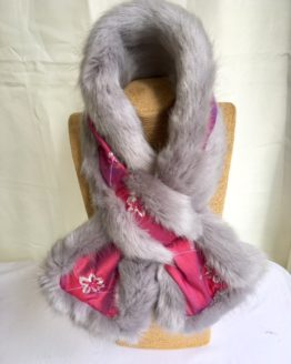 Pink Silk and Grey Mink Faux fur Stole