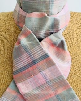 Green and Pink Tartan Silk Stock Pre Tied