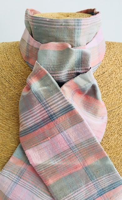 Green and Pink Tartan Silk Stock Pre Tied