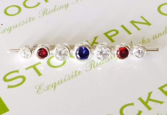 Red white and blue Graduated Stones Stock Pin