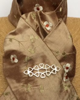 Shimmering Cocoa Pure Silk Stock with embroidered Linen & Rust Flowers Self Tie