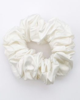 White Dupion Pure Silk Scrunchie