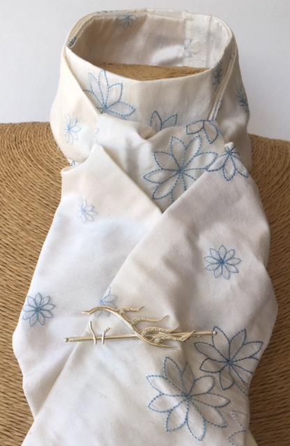 White embroidered blue toned flower pure silk stock self tie