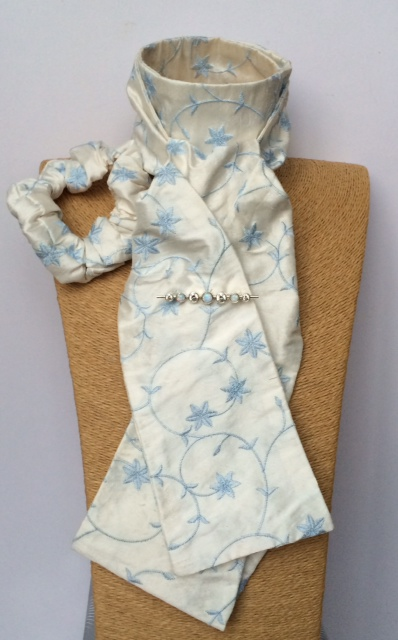 Ivory embroidered blue flower pure silk stock self tied, matching scrunchie & white opal graduated stones silver stock pin