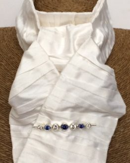 White Pleated Silk Stock with Graduated Stones Tanzanite Silver Stock Pin