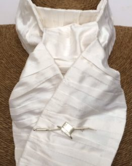 White Pleated Silk Stock Self Tie with Silver Dressage Hat on Whip Stock Pin