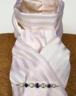 White Satin Stripe stock self tie with graduated stones tanzanite silver stock pin