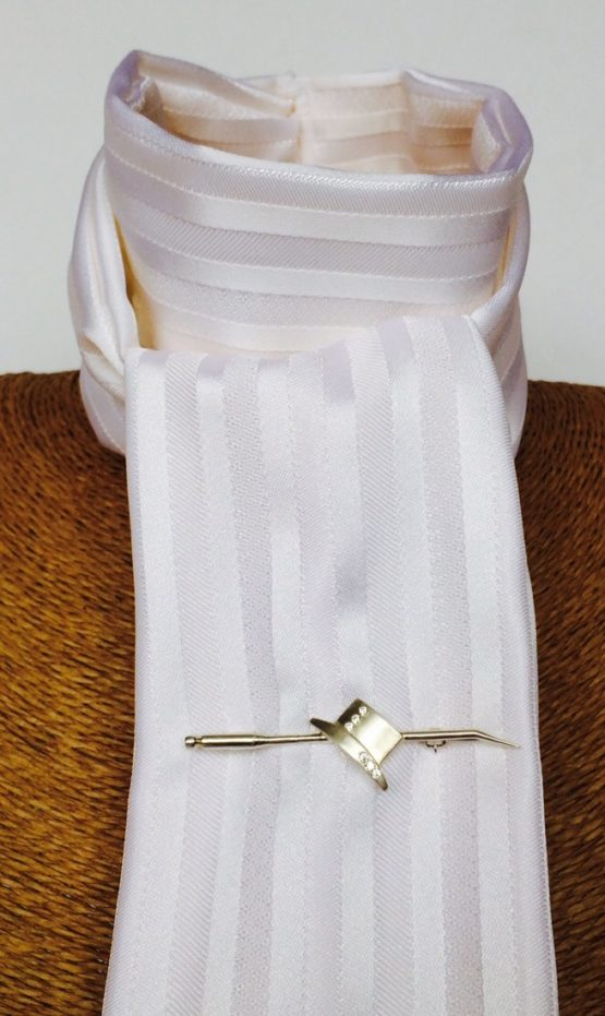 White Satin Stripe Stock Self Tie with our Dressage Hat on a Whip Silver Stock Pin