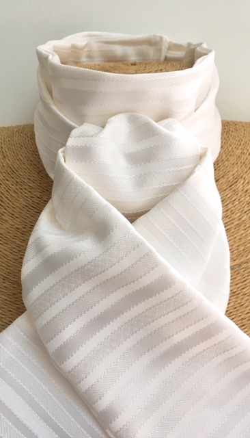 White Satin Stripe Stock Pre Tied