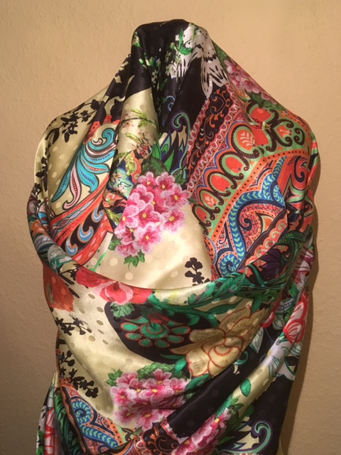 Yellow Floral Silk Scarf