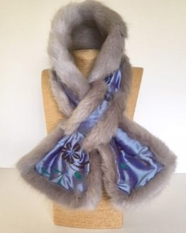blue silk and grey mink faux fur stole