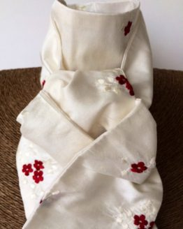 Ivory embroidered crimson cluster flower pure silk stock self tie