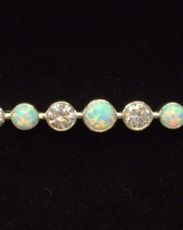 White Opal Graduated Stones Silver Stock Pin